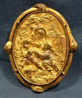 4: Victorian Rolled Gold Relief Brooch. Scene depicts 3