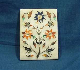 Early Italian Pietra Dura Plaque with Floral Motif.