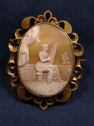 Early 19th C Shell Cameo in Rolled Gold Pierced Sur