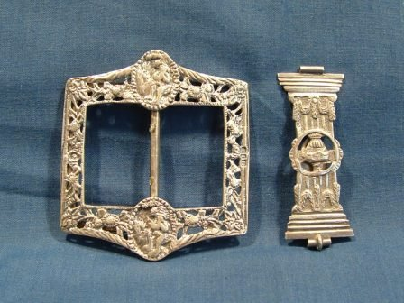11: 2 Various Early Silver Items. Belt buckle Birm. 189