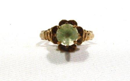 13: 9ct Rose Gold & Citrine Set Dress Ring. Floral form