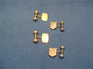 2 Pairs of Cufflinks. 1 pair 9ct gold, 1 sterling s
