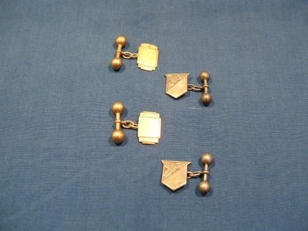 17: 2 Pairs of Cufflinks. 1 pair 9ct gold, 1 sterling s