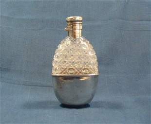 Hobnail Cut Crystal Hip Flask. With silver cup base