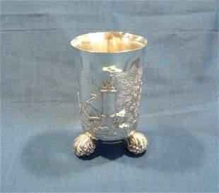 Hallmarked German .800 Silver Tri-Footed Vase. Embo