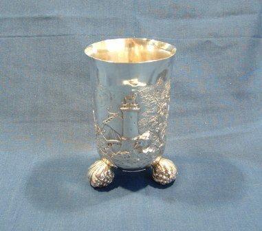 21: Hallmarked German .800 Silver Tri-Footed Vase. Embo