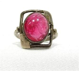 311: Early 20th C Synthetic Ruby Intaglio Ring. Central