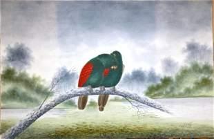 CALVERT, H H Pair of Parrots, 1919. Emerald & re