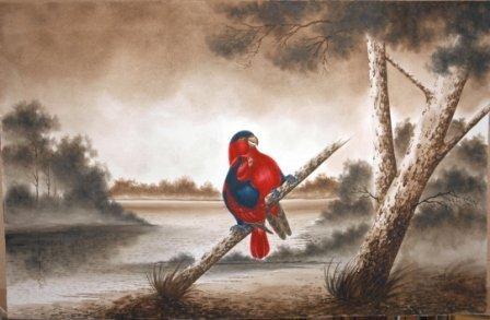 1009: CALVERT, H H  Pair of [King?] Parrots, 1919.  W/C