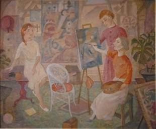 TROY, Mary (1889-1973) The Art Class Oil on Boa