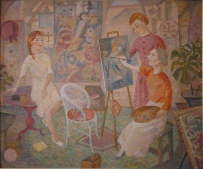 1013: TROY, Mary (1889-1973)  The Art Class  Oil on Boa