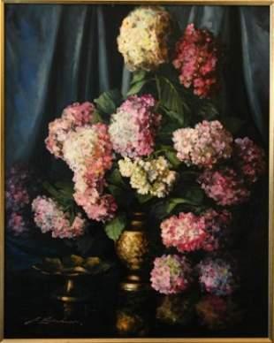KIRSCHNER, John (b.1924) Hydrangeas Oil on Boar