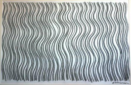 1019: COBURN, John (b.1925)  Sand Lines  Charcoal  76 x