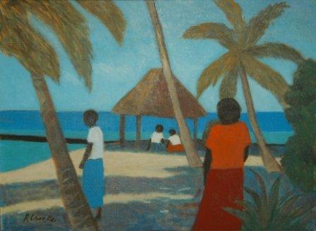 1020: CROOKE, Ray (b.1922)  Island Gathering  Oil on Ca