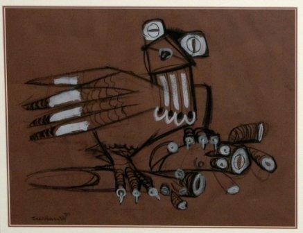 1022: HODGKINSON, Frank (1919-2001)  Stylised Bird  Cha
