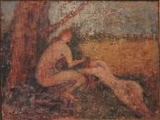 1070: F McCubbin  Two Nudes in Pastoral Landscape  Oil