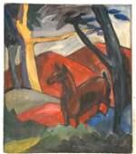 1265: European School  Deer in Red Landscape. Inscribed