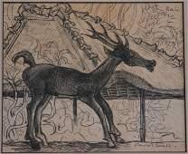 1292: FRIEND, Donald (1915-1989) Carved Deer, Bali. I