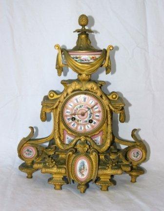 2: French Gilt & Porcelain Mantel Clock. Pink & floral