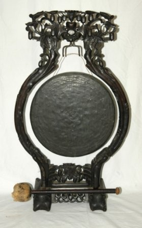 3: Chinese Carved & Pierced Wood Dinner Gong & Striker.