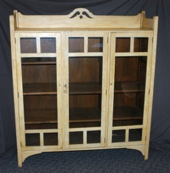 4: Oak Cream Painted Arts & Crafts Bookcase. C.1910, wi