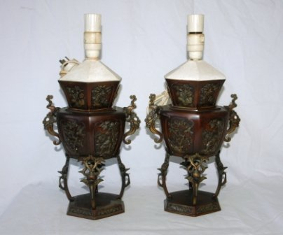 5: Pair of Chinese Bronze Censers. Converted to electri