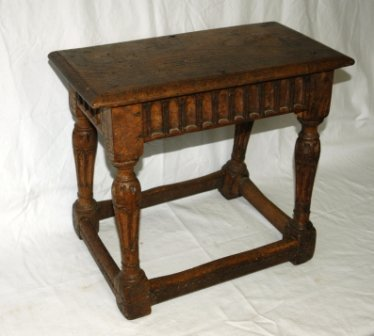 6: Jacobean Style Oak Stool. Carved decoration, with 4