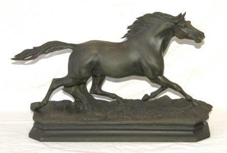 11: Early French Spelter Stallion Figure. With impresse
