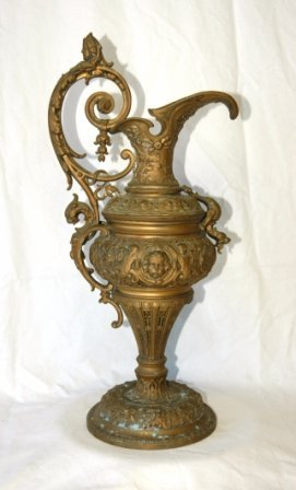12: Brass Ewer or Garniture Piece. Decorated with cheru