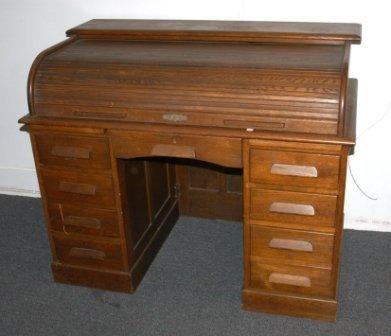13: Oak Roll Top Twin Pedestal Desk. Cutler style.  101