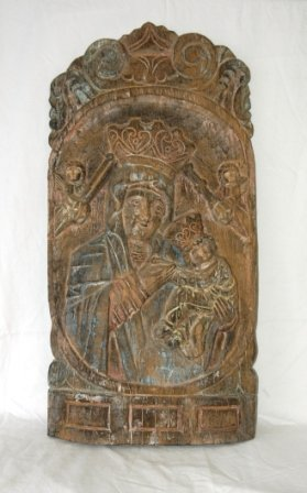 15: European Medieval Style Carved Wood Plaque. Madonna