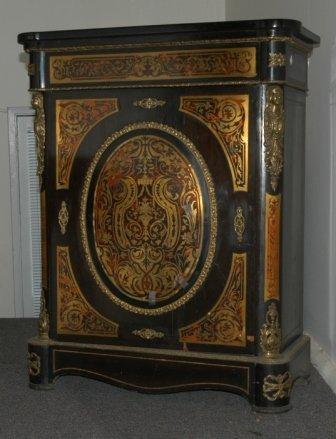 24: 19th C European Boule Pier Cabinet. Brass floral mo