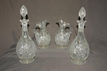 92: 4 Matching Pieces Fancy Cut Crystal. 2 jugs & 2 dec