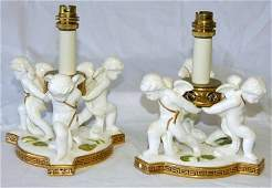 103: Pair Moore Bros Table Lamps in the form of 3 Cheru