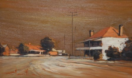 """1006: NEWELL, Rex (b.1939)  """"Old Hotel Mudgee""""  Oil on"""