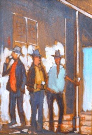 """1007: NEWELL, Rex (b.1939)  """"The Drinkers""""  Oil on Boar"""