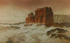 1129: SUKER, Arthur (1857-1902) Seascape with Rocky Co