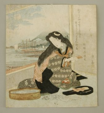 14:   19th C Japanese Woodblock. Woman attending to her