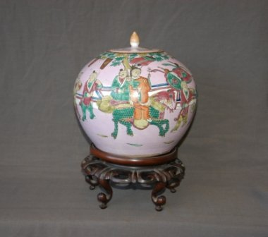 24:   Chinese Ginger Jar & Cover on Stand. Puce ground,