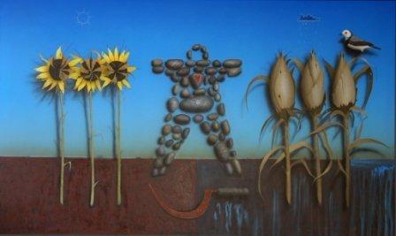 """1002: TOWNSEND, Graeme K (b.1954)  """"Stone Drought God"""""""