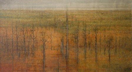 """1011: BURCHER, Les (b.1922)  """"Landscape Primitive""""  Oil"""