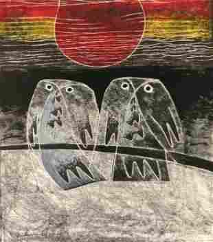 """JONES-ROBERTS, Gareth (b.1935) """"Owls in Evening"""