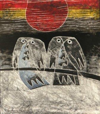 """1019: JONES-ROBERTS, Gareth (b.1935)  """"Owls in Evening"""