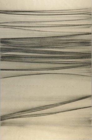 """1023: WARREN, Guy (b.1921)  """"Mort Bay No.3""""  Charcoal"""
