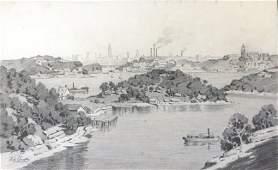 1134: LANGKER, Erik (1898-1982) View of Sydney (Woolwi