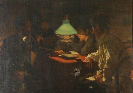 Russian School Gentleman Seated Around Lamp Ligh