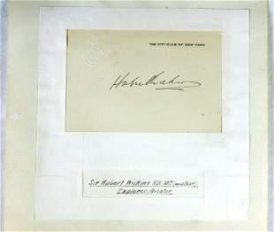 Sir Hubert WILKINS - Explorer, Scientist & Aviator.