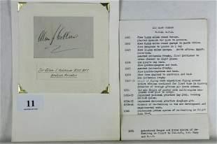 Sir Alan J COBHAM - British Aviator. Black ink on