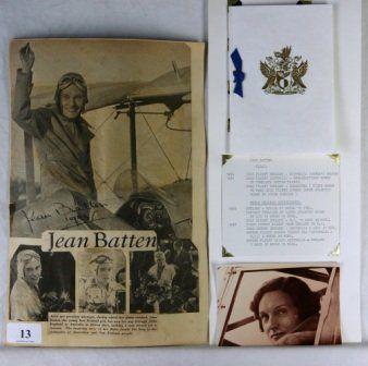 Jean BATTEN - New Zealand Aviatrix. Hand signed in