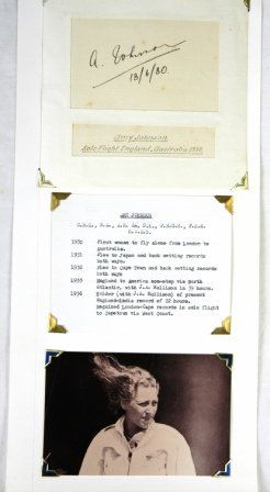 Amy JOHNSON - Aviatrix. Black ink on card. Hand si